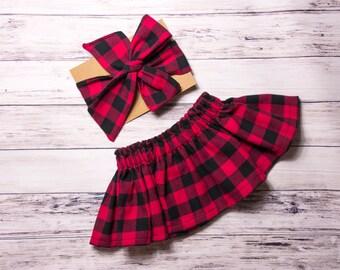 Buffalo Plaid Skirt and Head wrap Set- red buffalo plaid head wrap, Christmas baby skirt, plaid skirt