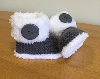 Fur Baby Boots, Hand Knitted Baby Booties, Reborn Baby Boots, Dark Grey Bootees, Baby Snow Boots, Baby Slippers, Ideal Gift - Ready to ship