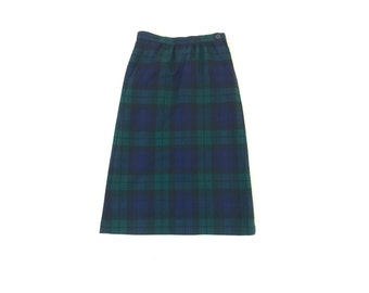 Vintage Blue and Green Plaid A-Line Skirt, Small