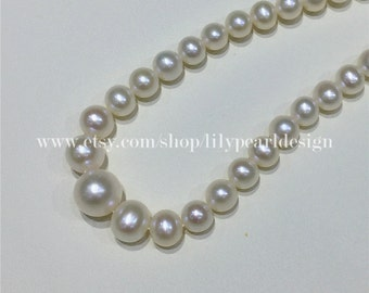 Pearl necklace, simple necklace, dainty necklace, gradual pearl necklace