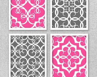 Printable Art, Digital Prints, Gray and Hot Pink Art, Teen Room Decor, INSTANT DOWNLOAD, 8x10 Prints, Bedroom Art, Art for Girl Room