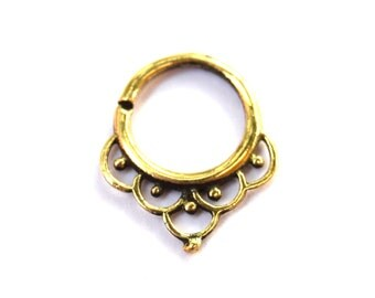 Brass Septum Ring, Tribal Septum, Brass Septum Ring, Indian Nose Ring, Boho Septum, Body Jewellery, Ethnic Septum