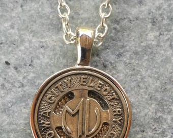 Iowa City Transit Token Pendant Necklace