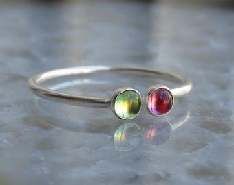 peridot ring, garnet ring, multistone ring, silver stack ring, dual ring