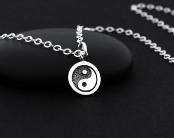 Yin Yang Necklace, Yin Yang Jewelry, Sterling Silver, Yin and Yang Necklace, Yin Yang Charm, Taoist Necklace, Spiritual Jewelry, Zen