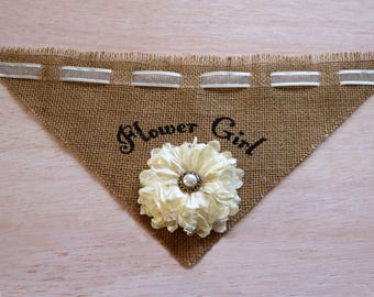Flower Girl Dog Bandana, Dog Wedding Bandana, Dark Burlap Pet Wedding Outfit