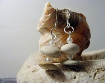Sterling Silver Pebble Earrings Beach Stone Jewelry Cairn Earrings Zen Earrings Stone Jewelry