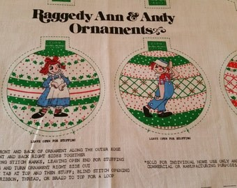 Vintage 1970s Raggedy Ann and Andy DIY Christmas Ornaments Fabric Panel, cut, sew, stuff