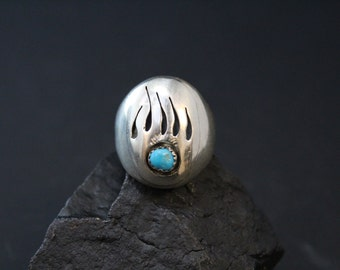 Signed Sterling Silver Native American Shadow Box Bear Paw Navajo Turquoise Ring