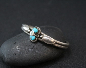 Sterling Silver Signed Zuni Effie C Turquoise Snake Cuff Bracelet