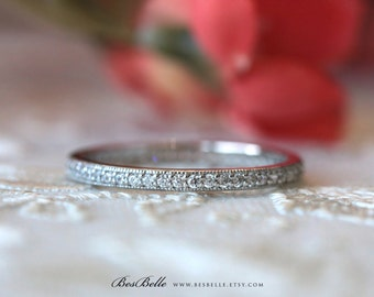 1.5mm Delicate Milgrain Full Eternity Band Ring-Brilliant Cut Micro Pave Diamond Simulant-Stackable Band Ring-Solid Sterling Silver [0854E]