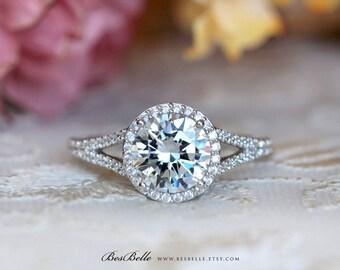 2.46 ct.tw Classic Halo Split Shank Engagement Ring-Brilliant Cut Diamond Simulant-Bridal Ring-Wedding Ring-Solid Sterling Silver [0554]
