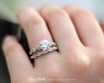 1.52 ct.tw Wedding Set Rings-Brilliant, Marquise Cut Diamond Simulants-Bridal Rings-Wedding Ring-Engagement Ring-Sterling Silver [3414-2]