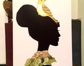 Hand finished with gold leaf art print, silhouette girl with bird