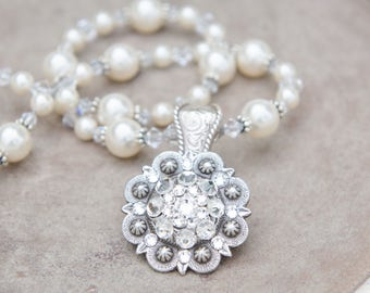 Concho Bridal Necklace with Swarovski Crystals, Swarovski Pearls and Rhinestones, Rustic Country Wedding Jewelry, Choose White, Cream, Ivory