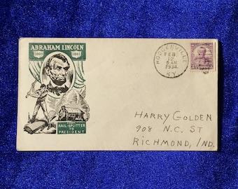 Abraham Lincoln Railsplitter to President Cover & 1932 Daniel Webster 3 Cent Postage Stamp