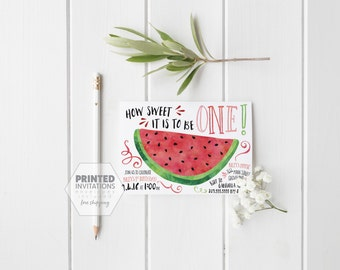 Printed Set of Watermelon Invitations with Photo- Summer- Pink- Girl First Birthday- One in a Melon- Picnic- Envelopes Included