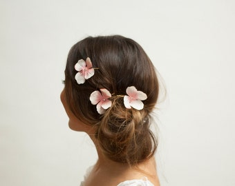 3 Piece Hair Clip Set - Pink & Cream Hydrangea Flowers | Spring Summer Festival Bridal Wedding Party Fairy Boho Flowergirl Bridesmaid Bobby