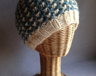 Blue Checkered Hat - Acrylic - Hand-knit - Allergy Free