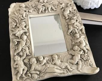 OMG, sale, cherubs mirror, vintage mirror, handmade, putti, shabby chic, paris, wall decor