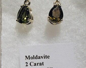 MOLDAVITE Faceted Teardrop Sterling Silver Dangle Earrings