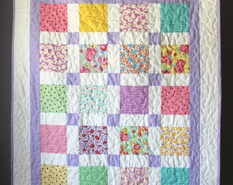 Lavender Baby Quilt- Traditional Baby Quilt- Pastel Baby Bedding- Heirloom Baby Quilt-Classic Baby Quilt-1930s Baby Quilt- Homemade Quilt
