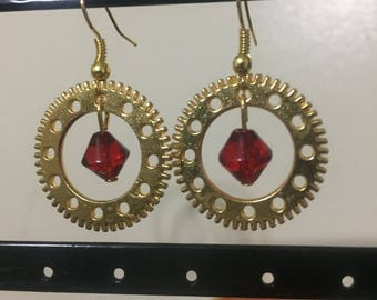 Steampunk Gold Gear Earrings