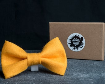 Dog Bowtie - Collar accessories - Handmade felt bow tie - idea gift for dogs and puppies - Yellow