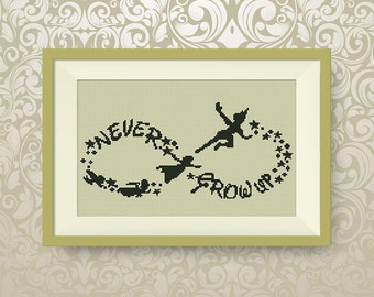 BUY 2, GET 1 FREE! Peter Pan cross stitch pattern, Peter Pan Wendy and Co flying, Instant Download, Never Grow Up, pdf pattern, #P089