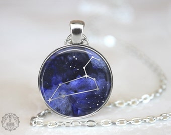 Leo Constellation Pendant Necklace | Leo Necklace Constellation Jewelry Zodiac Necklace Galaxy Necklace Stars Space Astrology Watercolor