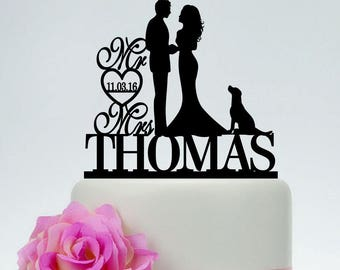 Mr and Mrs Cake Topper,Bride and Groom With Dog,Couple Silhouette,Custom Wedding Cake Topper,Dog Cake Topper, Cake Topper with Date C184