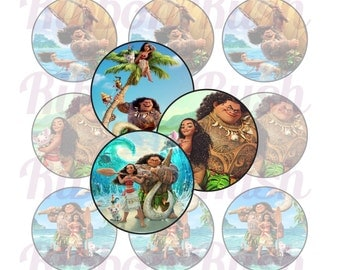"""Moana and Maui 1"""" Bottle Cap Images - Instant Download"""