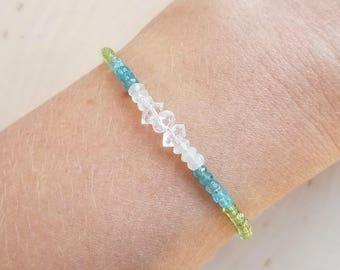 Ombre Apatite, Peridot, Jade Gemstone and Herkimer Diamond Bracelet