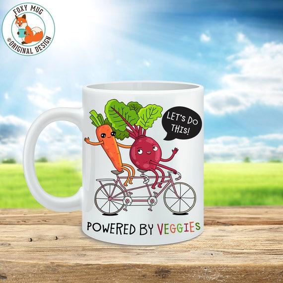 Coffee Mug Powered by Veggies Coffee Cup - Veggie Power Great Funny Mug Gift for Vegan or Vegetarian