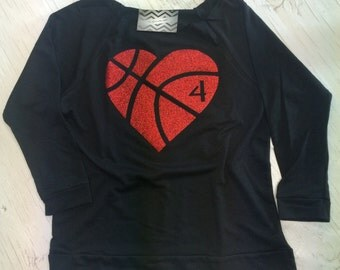 Basketball Mom Shirt. Basketball Mom. Glitter Basketball. Off Shoulder Shirt. Custom Basketball. Lightweight Shirt. 3/4 Shirt