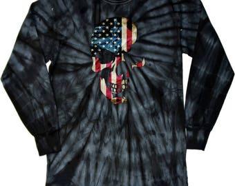 Skull Americana Adult Long Sleeve Tie Dye Tee T-Shirt 19425D2-2000