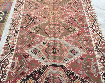 Old Turkish Kilim Rug /  6'5'' x 12'5'' ft / 3.78 x 1.95 mt / Free shipping