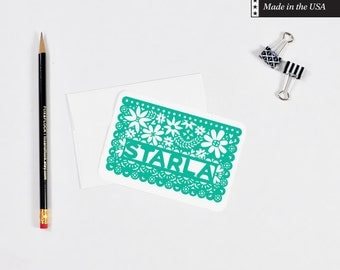 Personalized Papel Picado Note Cards