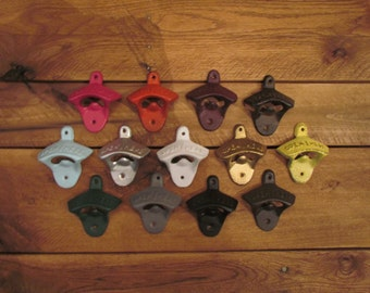 Cast Iron bottle opener, open here, rustic bottle opener, colored bottle opener, beer opener, wall mounted beer opener,