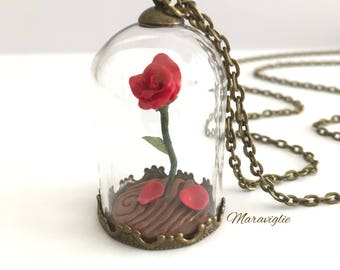 Enchanted Rose Necklace, Rose Vial Necklace, Belle' s Rose, Beauty and The Beast Necklace, Enchanted Rose, Beauty and The Beast Jewelry