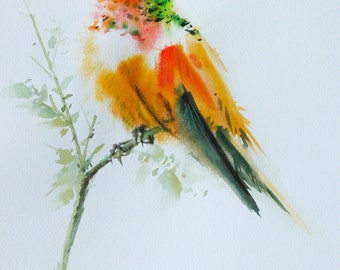 Hummingbird , Bird watercolor painting, Bird art, Art print size 8X10 inch for room décor & valuable gifts