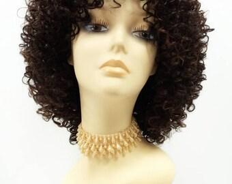 Dark Brown and Auburn Spiral Curls Wig. Heat Resistant Curly Fashion Wig. [90-458-Fayna-4/30]