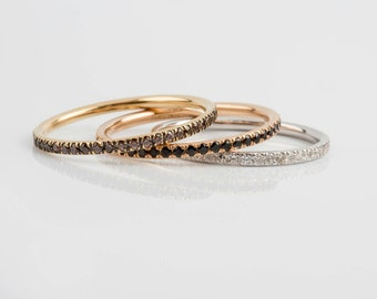 18k Eternity Ring, 18k Gold Stack Ring, Full Eternity Ring, Diamond CZ Ring, Stack Diamond Ring, Dainty CZ Ring, Solid Gold Eternity