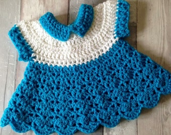 Baby Crochet Dress - Classic Collared Dress - Newborn Dress - Crochet Dress - Baby Gift - Baby Shower - Baby Shower Gift