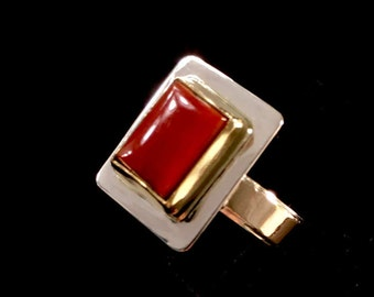 Red Coral Ring Natural Ox Blood Red Mediterranean Cabochon Set in 18k Gold 14k Gold & Sterling Silver Women Size 7