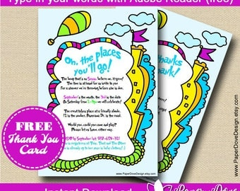 Inspired Dr Seuss Baby Shower Invitation 5x7"