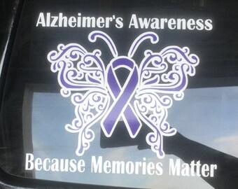 Alzheimers Disease Purple Ribbon Car Vehicle Window Decal- Because Memories Matter