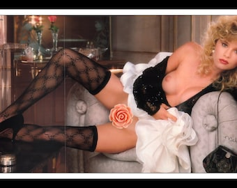 "Mature Playboy August 1990 : Playmate Centerfold Melissa Evridge 3 Page Gatefold Photo Wall Art Decor 11"" x 23"""