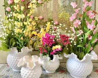 4 Milk Glass Vases Hobnail Vase Wedding Centerpiece Vases Fenton Glass Hobnail Milk Glass Wedding Vases White Vases Flower Vases Bulk Vases