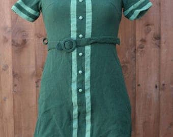 Green Collared Shift Dress with Belt
